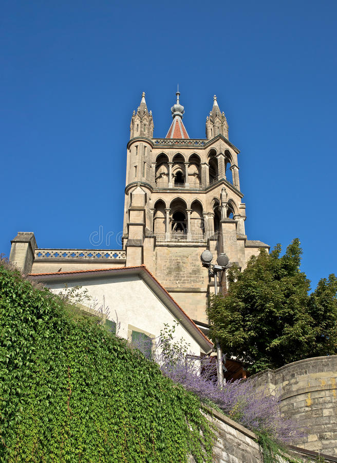 Kathedraal Notre Dame, Lausanne in Zwitserland stock foto