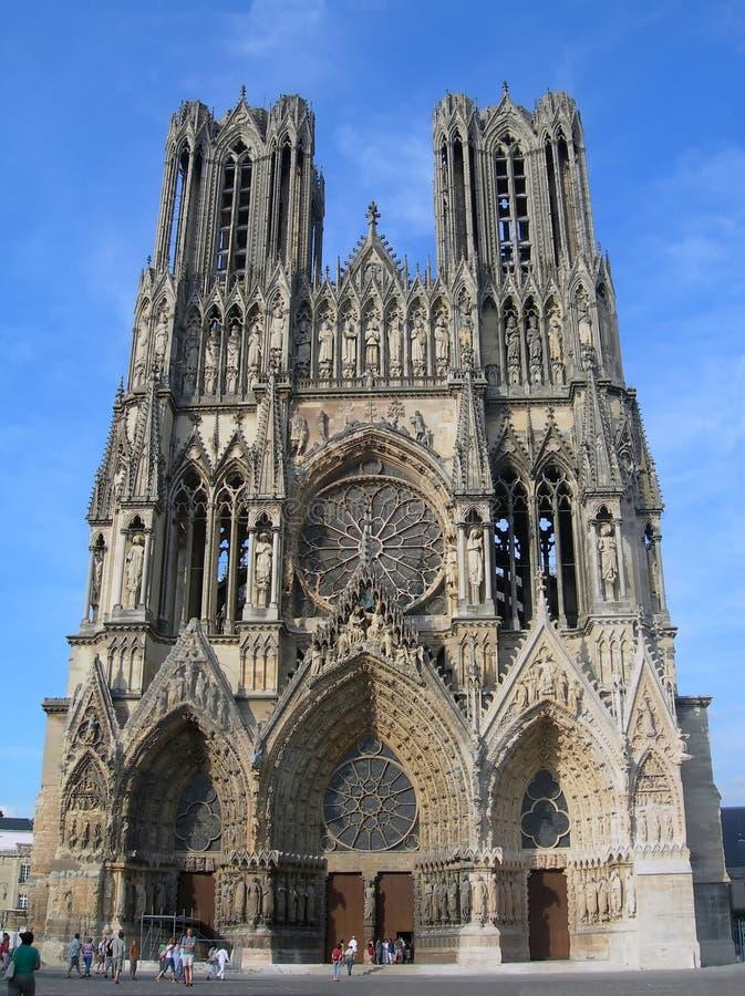 Kathedraal Notre-Dame van Reims stock afbeeldingen