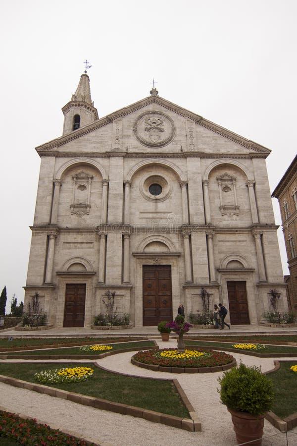 Kathedraal Santa Maria Assunta Pienza Siena Tuscany Italy stock fotografie