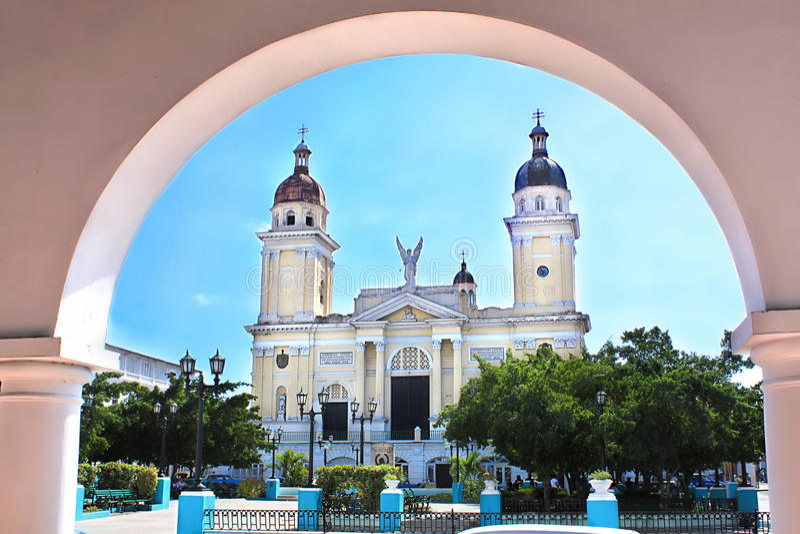 Kathedraal in Santiago DE Cuba stock foto's