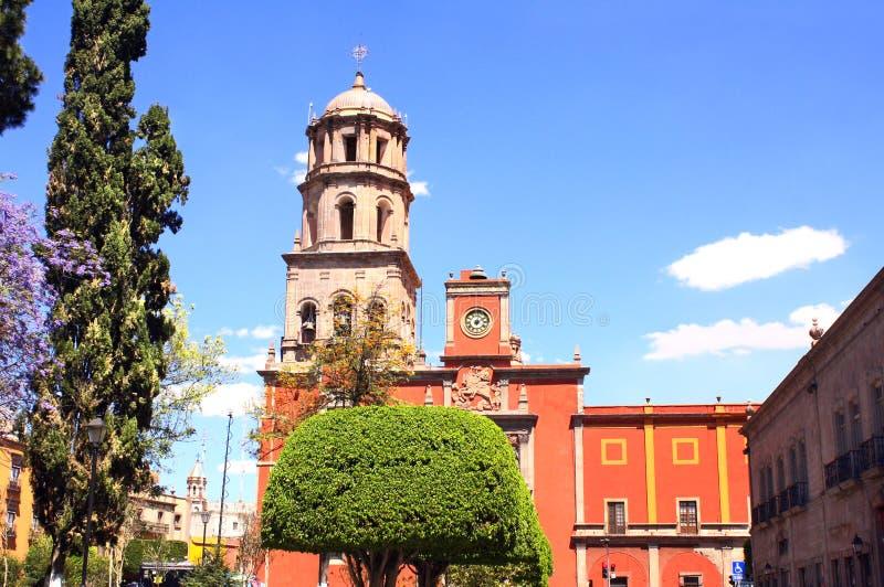 Kathedraal in Santiago de Queretaro, Mexico royalty-vrije stock afbeelding