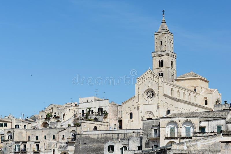 Kathedraal in Sassi van Matera stock afbeeldingen