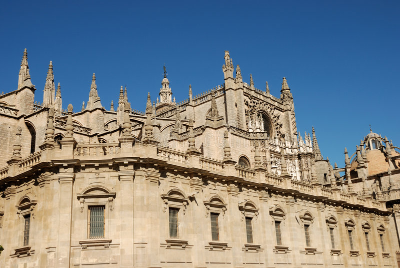 Kathedraal in Sevilla stock foto's