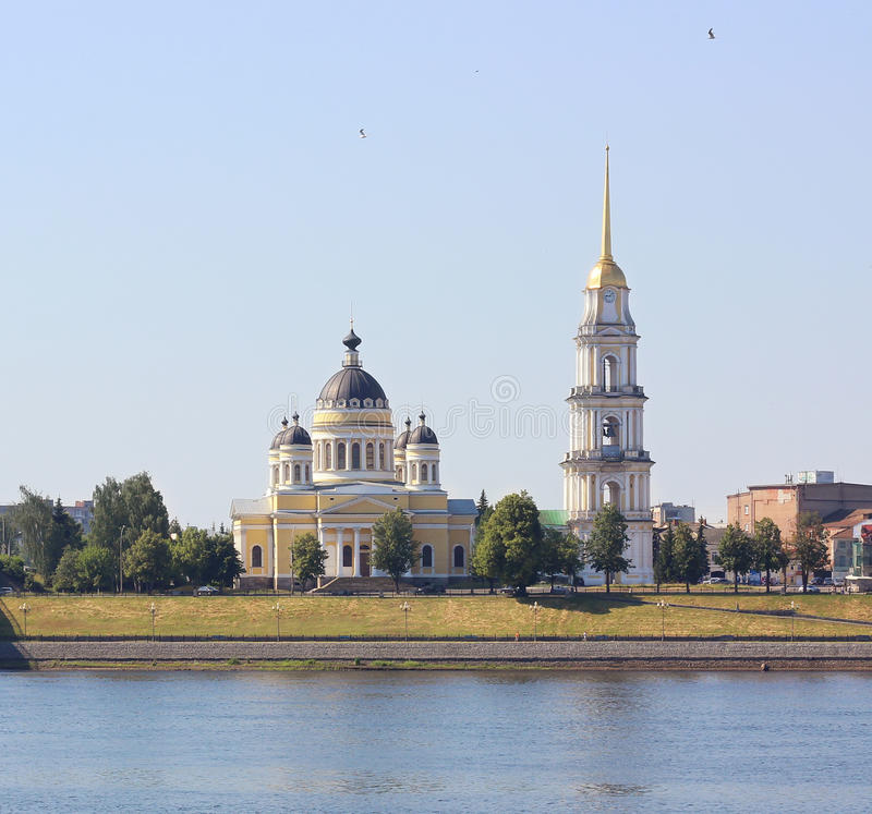 Kathedraal spaso-Preobrazhensky in de stad van Rybinsk, Rusland stock foto