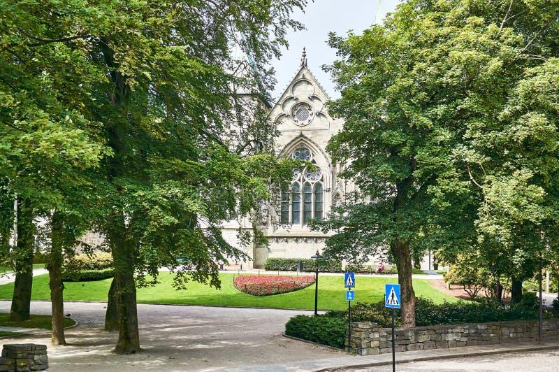 Kathedraal in Stavanger noorwegen royalty-vrije stock afbeeldingen