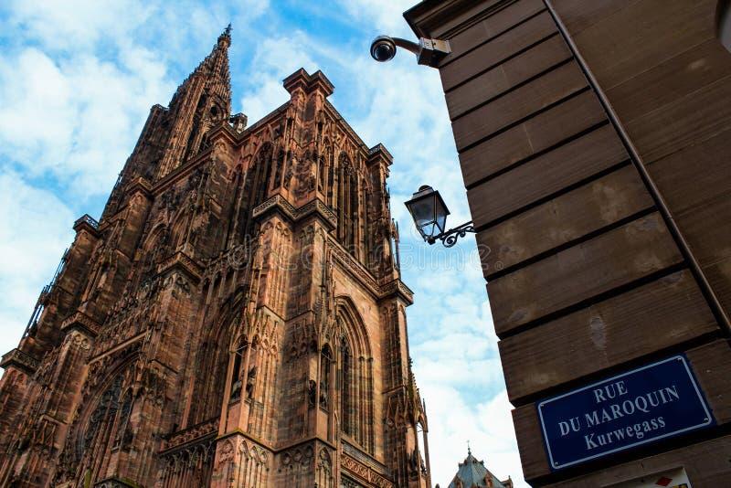 Kathedraal in Straatsburg, Frankrijk stock afbeeldingen