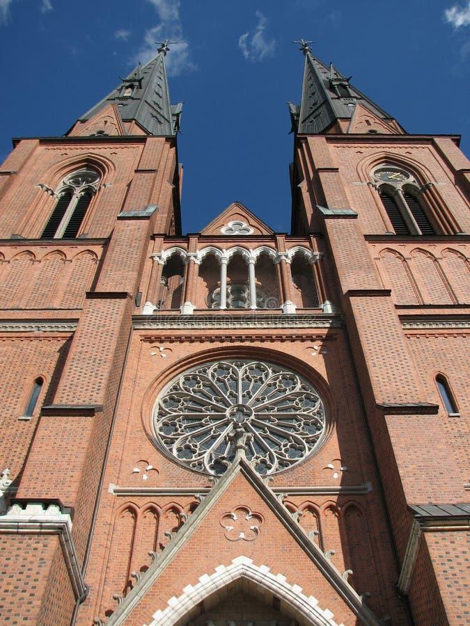 Kathedraal in Uppsala, Zweden royalty-vrije stock afbeeldingen
