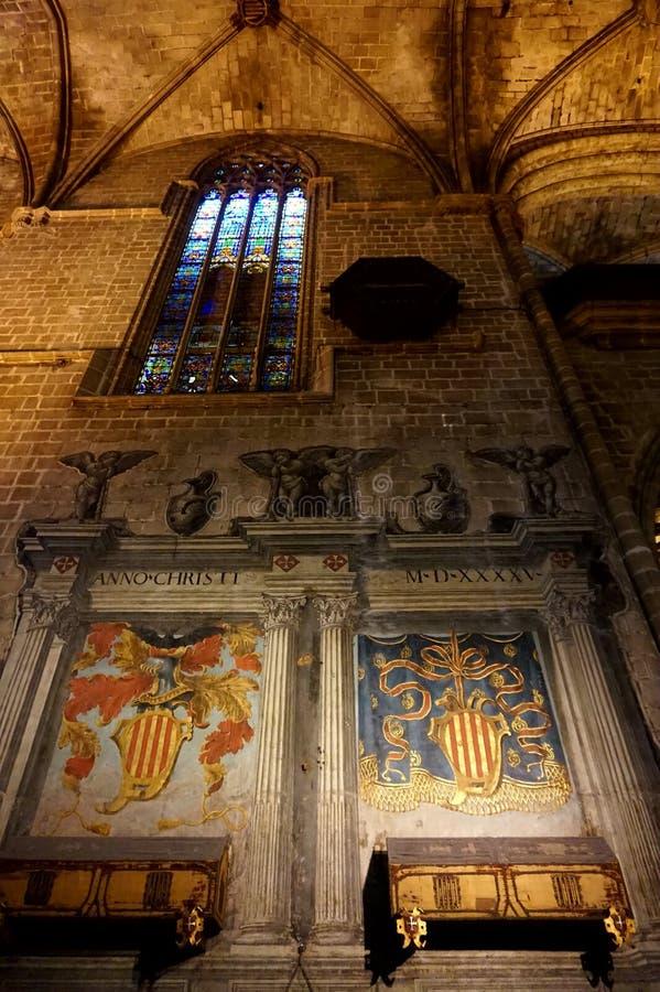 Kathedraal van Barcelona in het Gotische Kwart: Santa Cruz Cathedral en Heilige Eulalia stock afbeelding