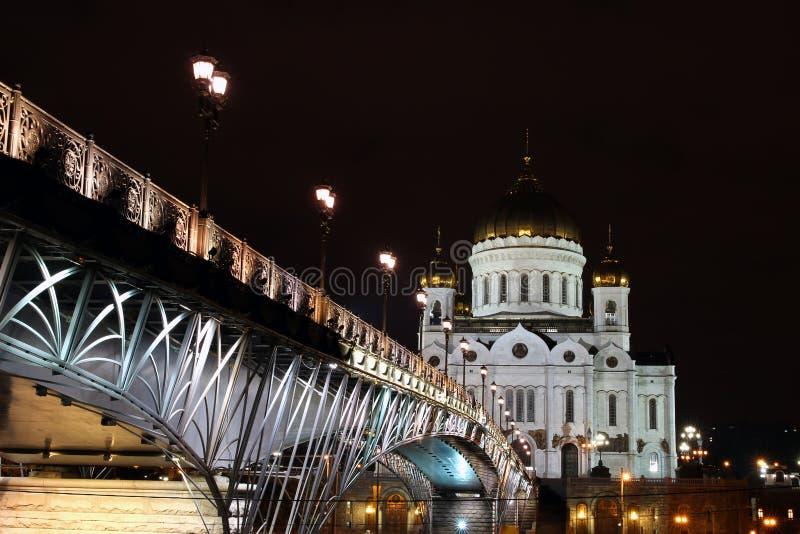 Kathedraal van Christus de Verlosser en de Patriarchale brug in Moskou stock fotografie