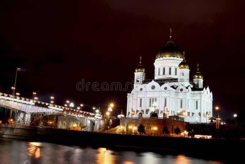 Kathedraal van Christus de Verlosser in Moskou bij nigh royalty-vrije stock afbeelding