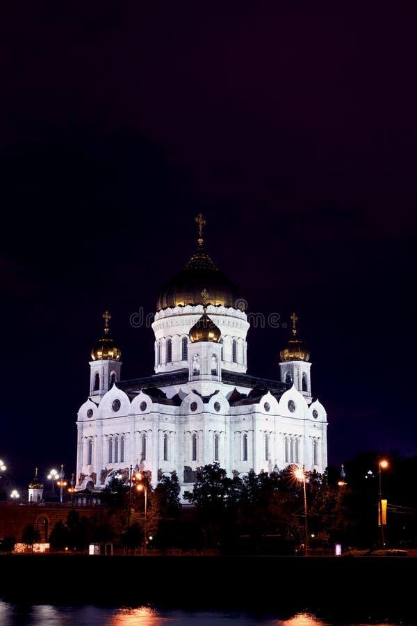 Kathedraal van Christus de Verlosser in Moskou bij nigh stock foto