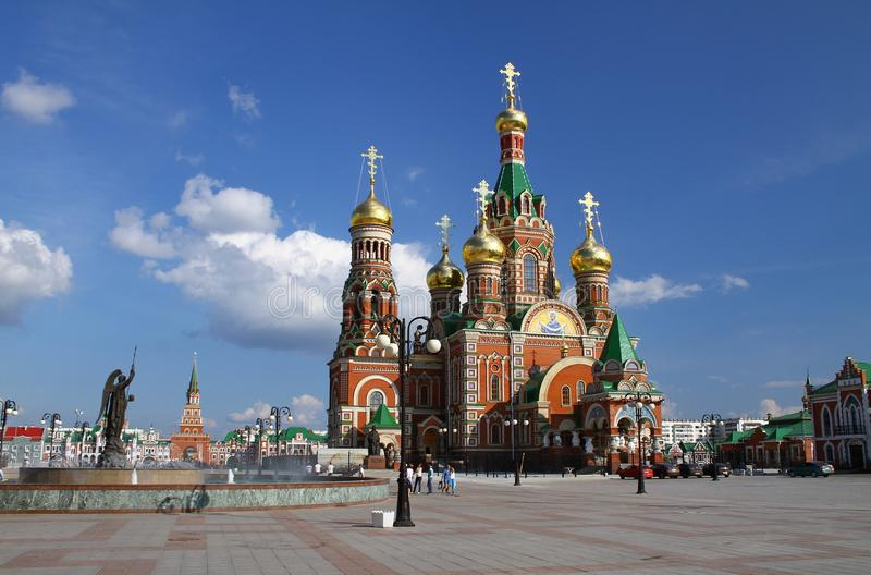 Kathedraal van de Aankondiging in Yoshkar-Ola stock foto