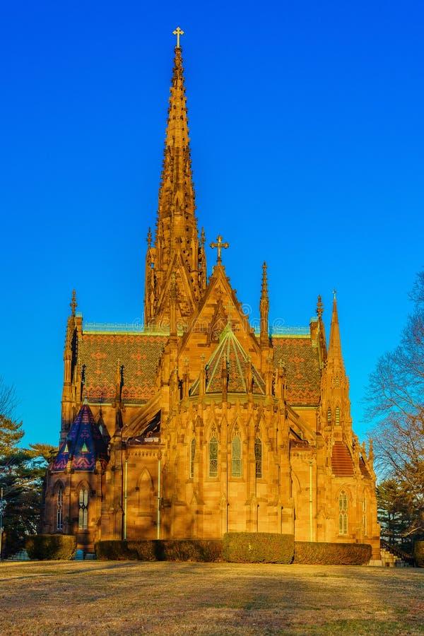 Kathedraal van de Incarnatie op de Zonsondergang, Tuinstad, New York stock fotografie