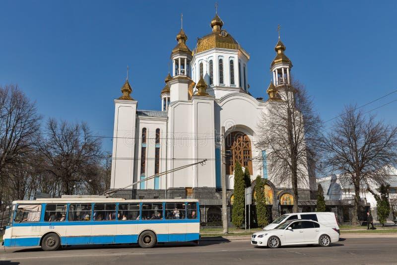 Kathedraal van de Interventie in Rovno, de Oekraïne stock fotografie
