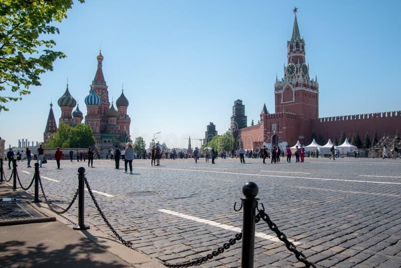 Kathedraal van de Toren van Vasily Blessed en Spasskaya- royalty-vrije stock fotografie