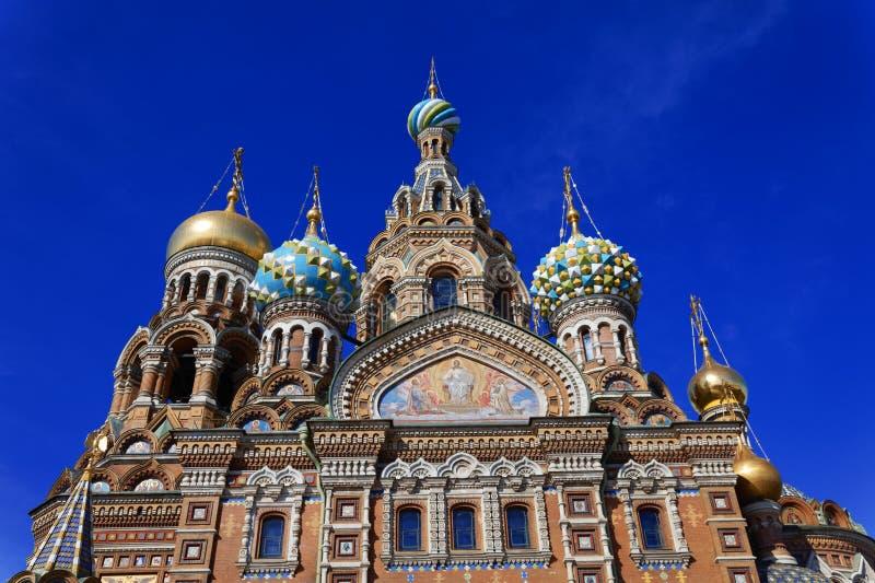 Kathedraal van de Verrijzenis van Christus in Heilige Petersburg, Rusland Kerk van de Verlosser op Bloed stock afbeeldingen