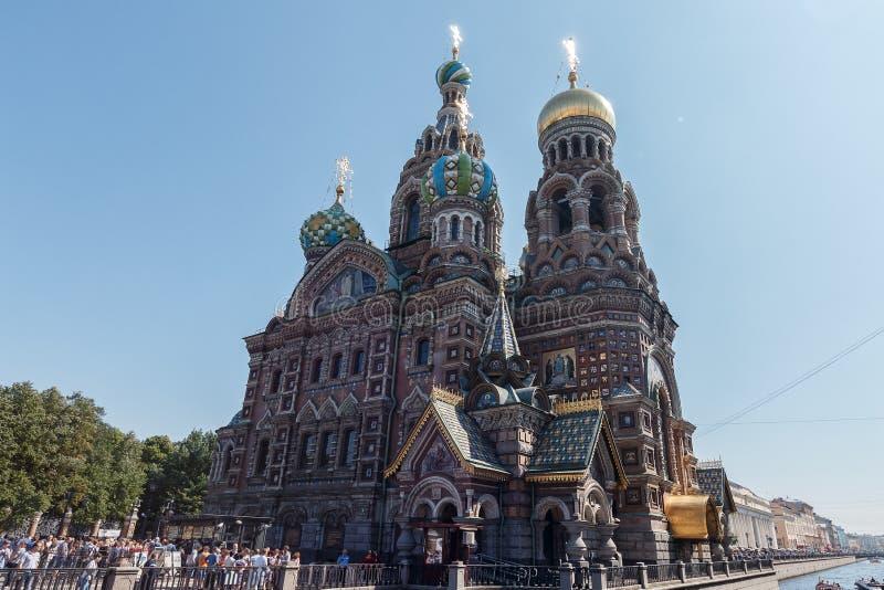 Kathedraal van de Verrijzenis van Christus in Heilige Petersburg, Rusland Kerk van de Verlosser op Bloed royalty-vrije stock afbeeldingen