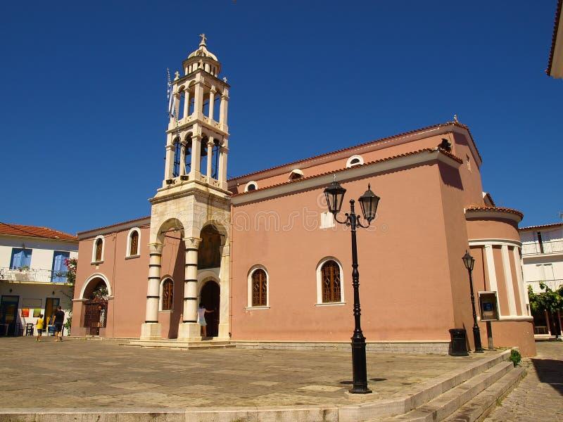 Kathedraal van Drie Hierarchs in de stad van Skiathos, Skiathos-Eiland, Griekenland royalty-vrije stock afbeeldingen