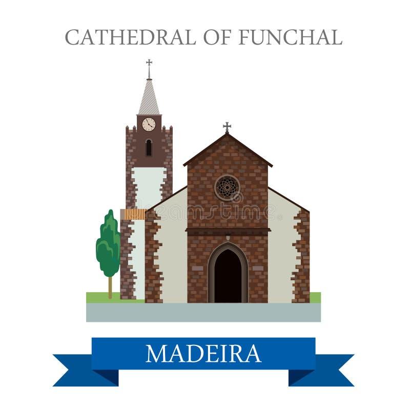 Kathedraal van Funchal in Vlakke het beeldverhaalvecto van Madera vector illustratie