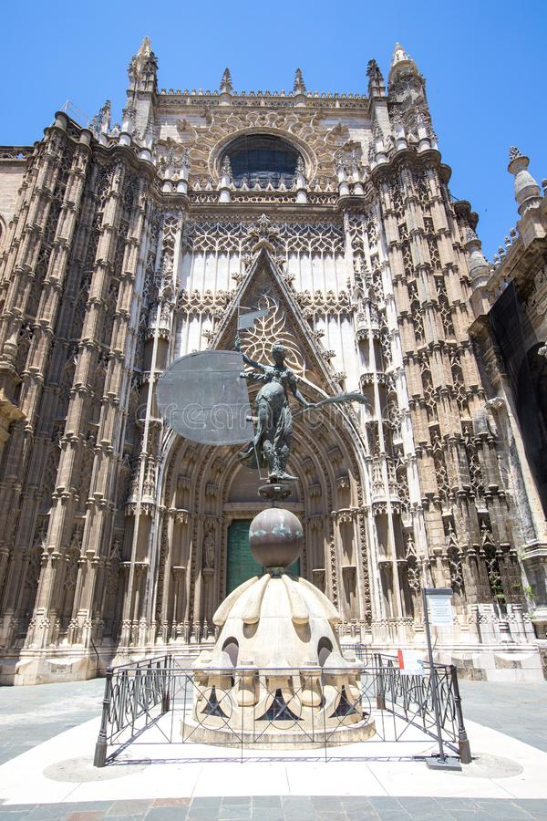Kathedraal van Heilige Mary Catedral de Santa Maria de la Sede binnen stock afbeelding