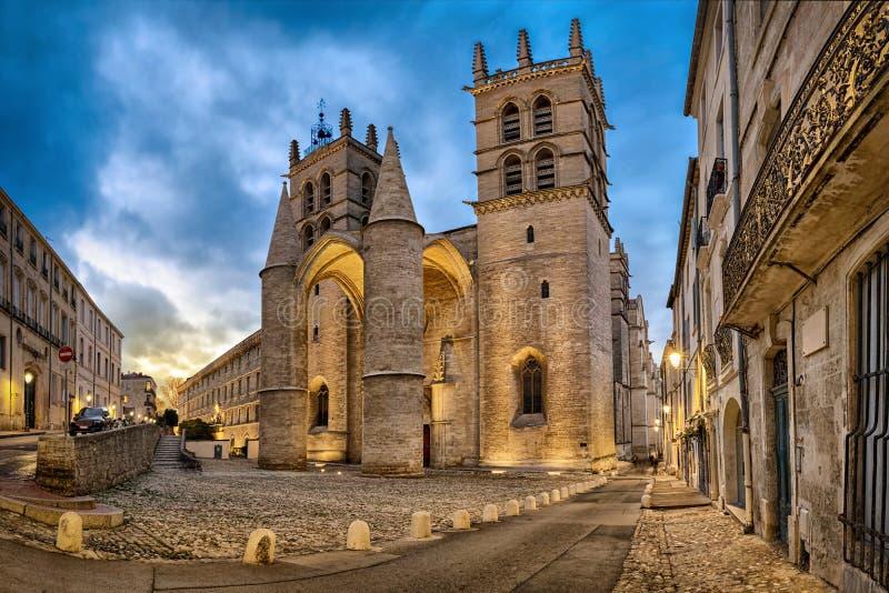 Kathedraal van Heilige Peter bij schemer in Montpellier, Frankrijk stock foto