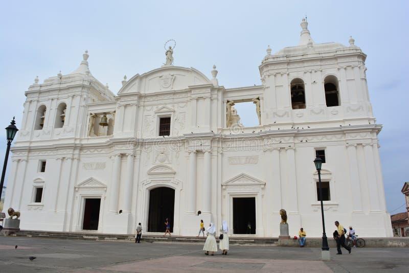Kathedraal van Leon, een Unesco-Erfeniscentrum in Nicaragua royalty-vrije stock afbeelding