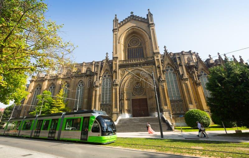 Kathedraal van Mary Immaculate (Nieuwe Kathedraal) Vitoria-Gasteiz stock foto