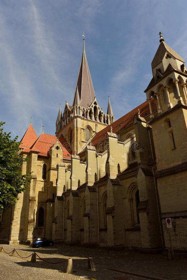 Kathedraal van Notre Dame in Lausanne, Zwitserland stock afbeelding