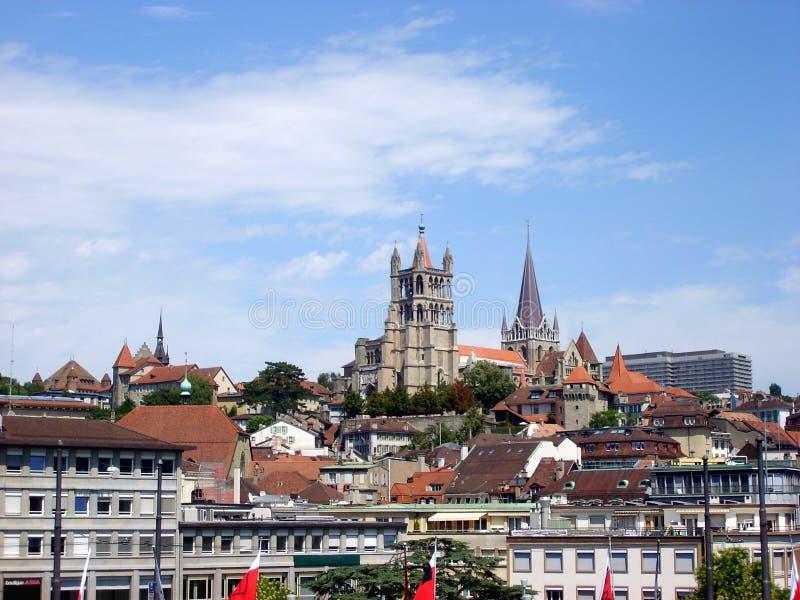 Kathedraal van Notre Dame in Lausanne, Zwitserland stock fotografie