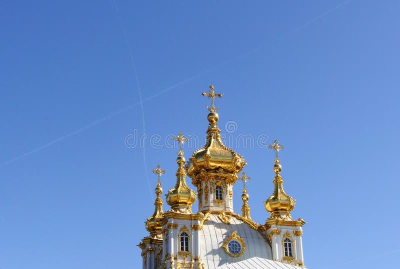 Kathedraal van Peterhof-Paleis in Rusland stock foto's
