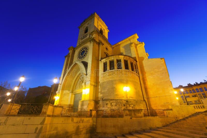 Kathedraal van San Juan de Albacete in vroege ochtend royalty-vrije stock afbeeldingen