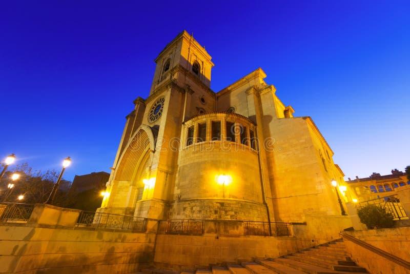 Kathedraal van San Juan de Albacete in vroege ochtendtijd stock fotografie