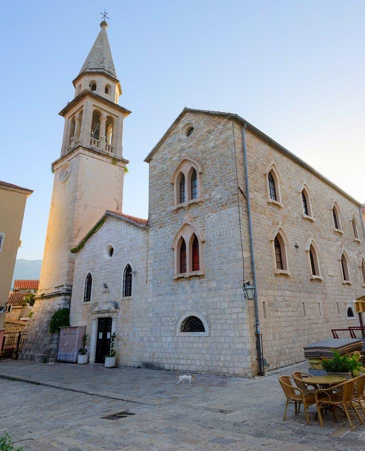 Kathedraal van St John Doopsgezind, Budva, Montenegro stock afbeelding