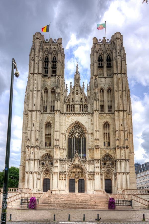 Kathedraal van St Michael en St Gudula, Brussel, België stock afbeeldingen