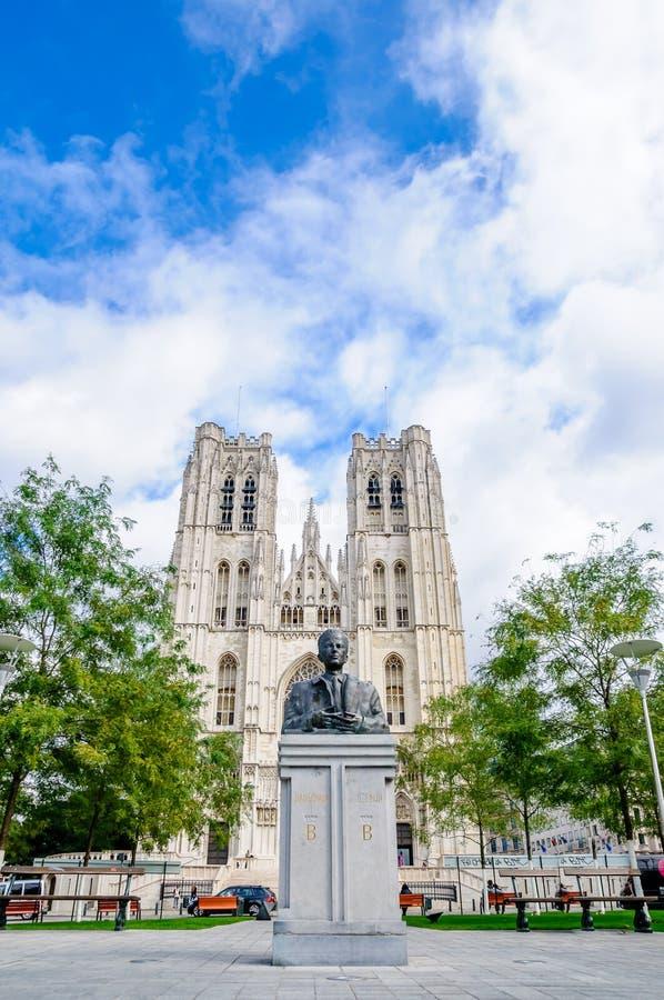 Kathedraal van St Michael en St Gudula in Brussel stock afbeelding
