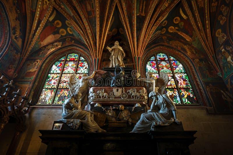 Kathedraal van Wawel, het complexe deel van Wawel-Kasteel stock afbeelding