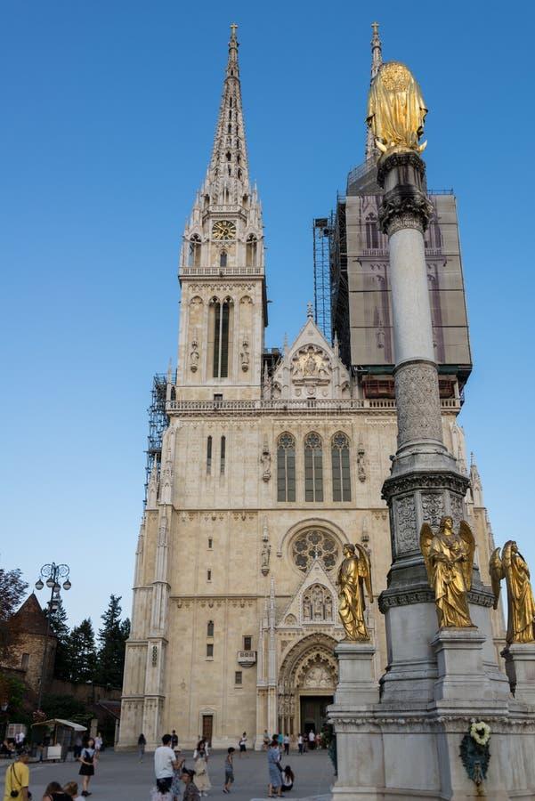 Kathedraal van Zagreb, Kroatië stock afbeeldingen