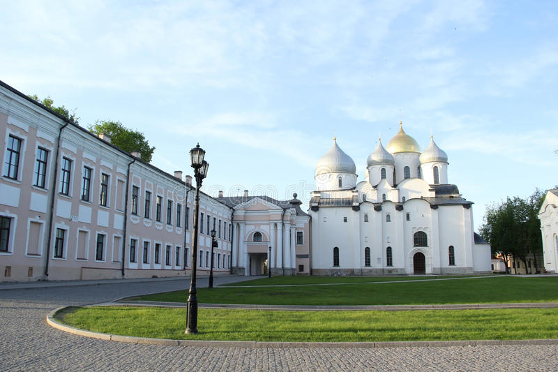 Kathedraal in Velikiy Novgorod stock foto
