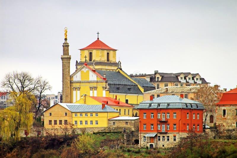 Kathedraal voor Heilige Peter en Paul in kamianets-Podilskyi stad, de Oekraïne royalty-vrije stock foto