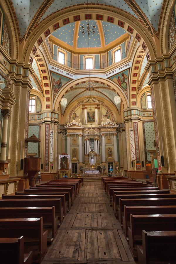 Kathedraalbinnenland in Real DE Catorce Mexico stock afbeelding