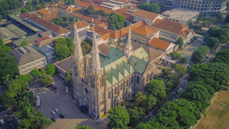 Kathedraalkerk vanaf de bovenkant, Djakarta indonesië stock afbeeldingen