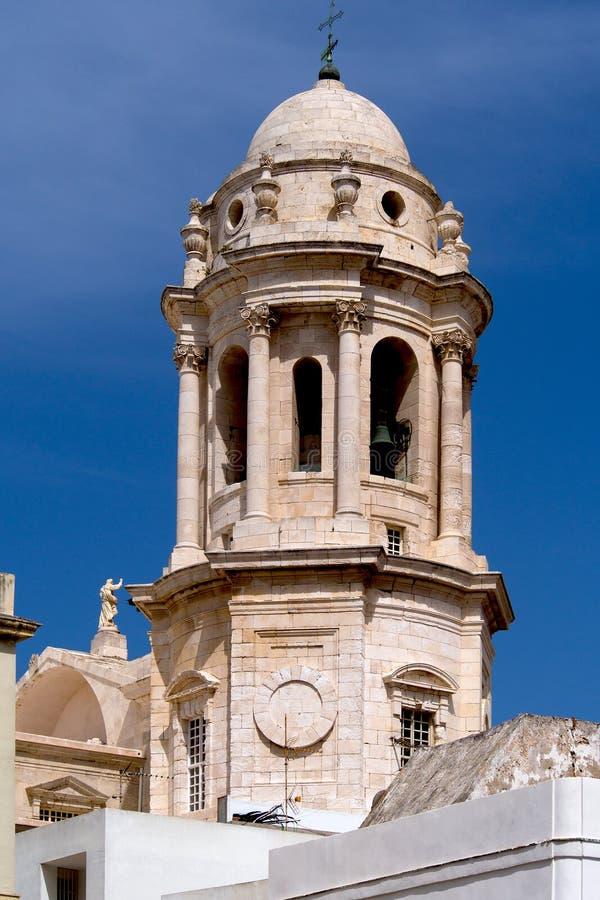 Kathedraalklok van Cadiz stock foto