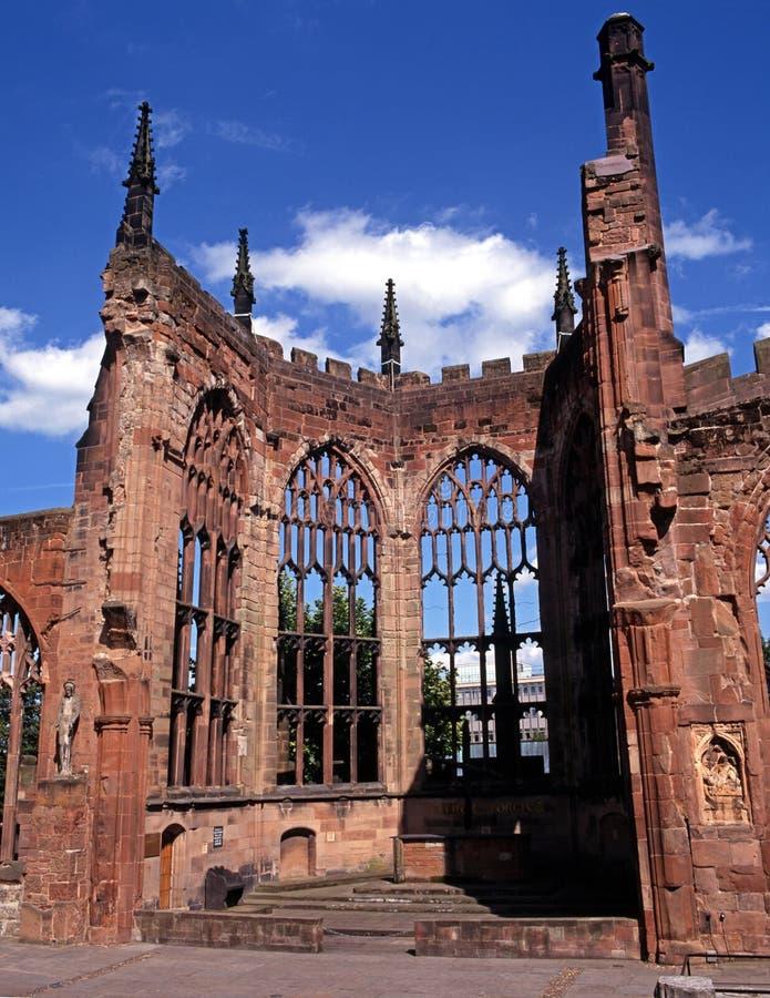 Kathedraalruïne, Coventry, Engeland. stock afbeelding