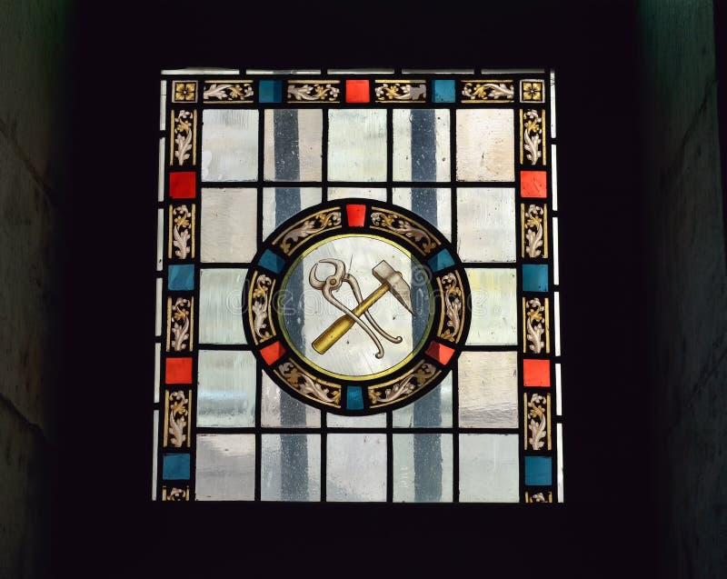 Kathedraalvenster in Onze Dame van Gunstkapel royalty-vrije stock afbeelding