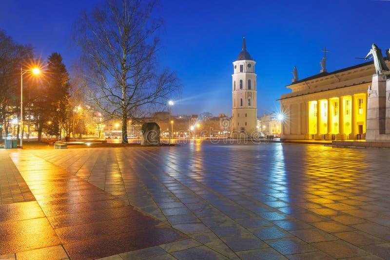 Kathedraalvierkant in de avond, Vilnius stock afbeelding
