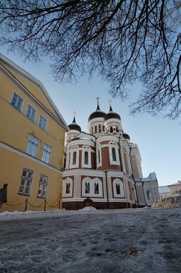 Kathedrale Alexander-Nevsky Winteransicht von Straße Pikk Jalg Toompea tallinn Estland lizenzfreie stockfotos