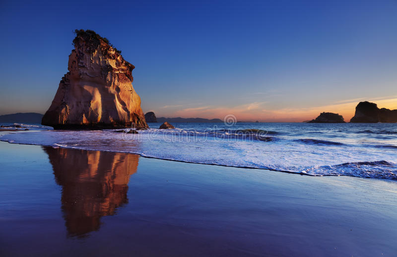 Kathedrale-Bucht, Neuseeland stockbild