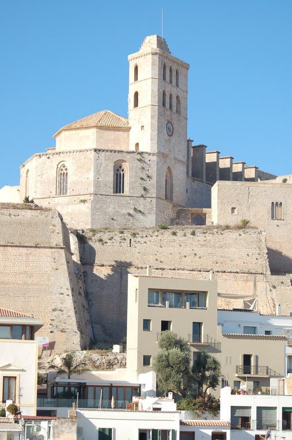 Kathedrale in D'Alt Vila, Ibiza stockfotografie