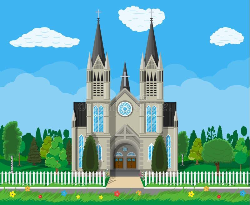 Kathedrale der katholischen Kirche mit Bäumen und Zaun lizenzfreie abbildung