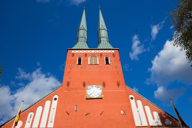Kathedrale in der Stadt von Vaxjo, Schweden lizenzfreie stockfotografie